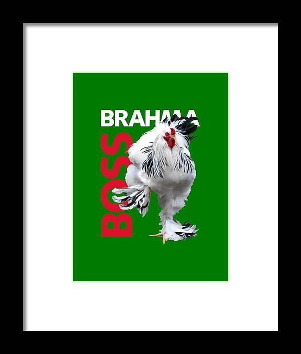 Brahma Framed Print featuring the digital art Brahma Boss T-shirt Print by Sigrid Van Dort