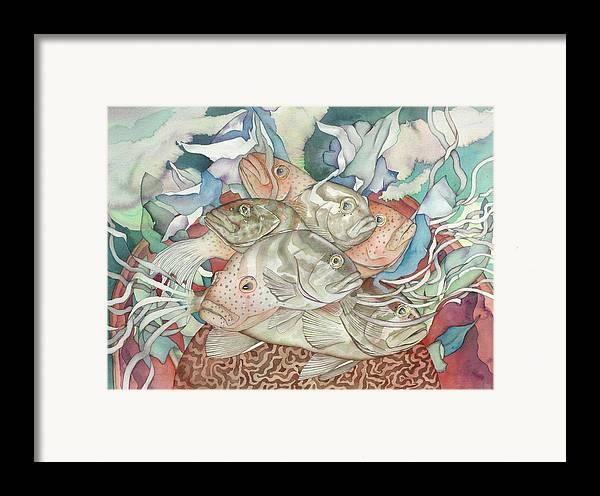 Fish Framed Print featuring the painting Brain Coral Party by Liduine Bekman