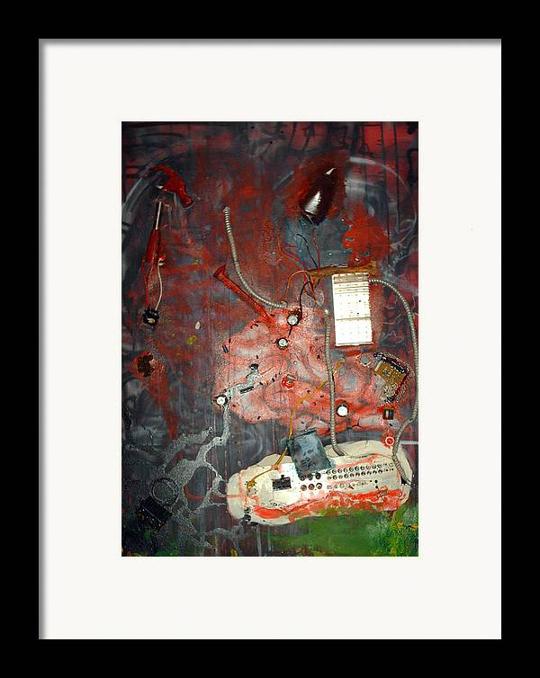 Collage Framed Print featuring the painting Brain Surgery by Leigh Odom