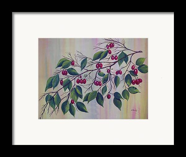 Fruits Framed Print featuring the painting Branch Of Spice by Murielle Hebert