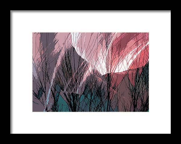 Digital Framed Print featuring the digital art Branches In The Canyon by Richard Coletti