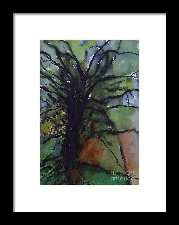 Tree Landscape Abstract Watercolor Original Blue Green Framed Print featuring the painting Branching by Leila Atkinson