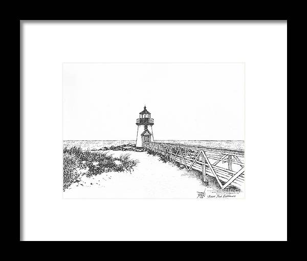 Lighthouse Framed Print featuring the drawing Brant Point Lighthouse by Dan Moran
