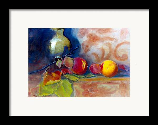 Still Life.brass Framed Print featuring the painting Brass And Peaches by Jeanene Stein
