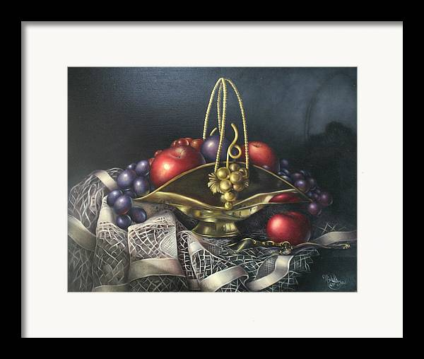 Still Life Framed Print featuring the painting Brass Basket by Michelle Kerr