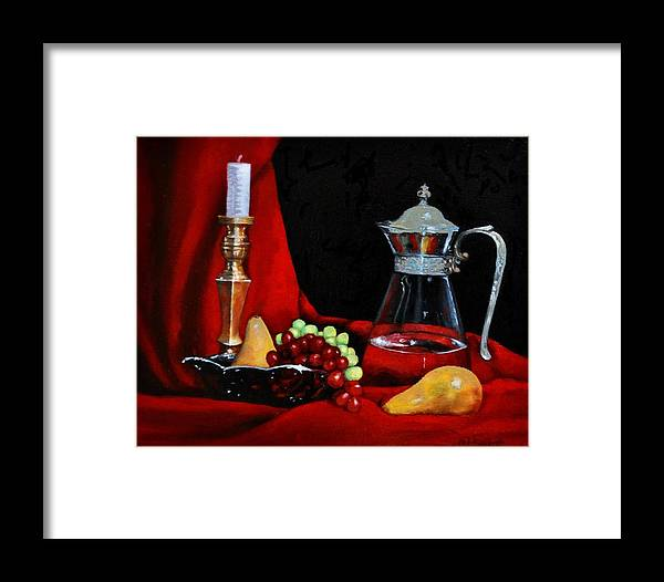 Brass Glass Silver Red Candle Fruit Framed Print featuring the painting Brass, Glass And Silver by Valerie Bassett
