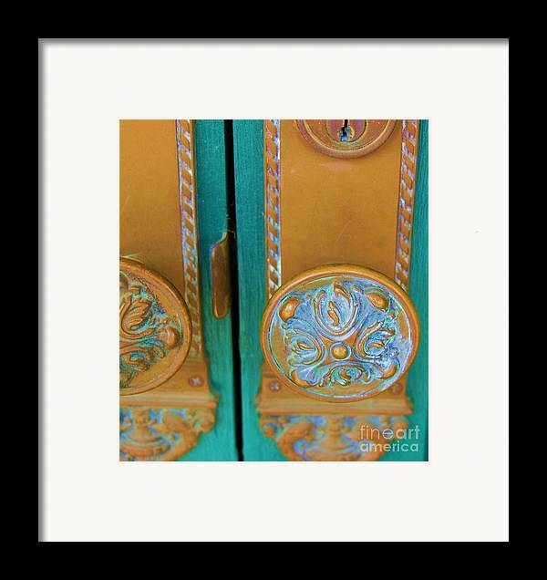 Door Framed Print featuring the photograph Brass Is Green by Debbi Granruth