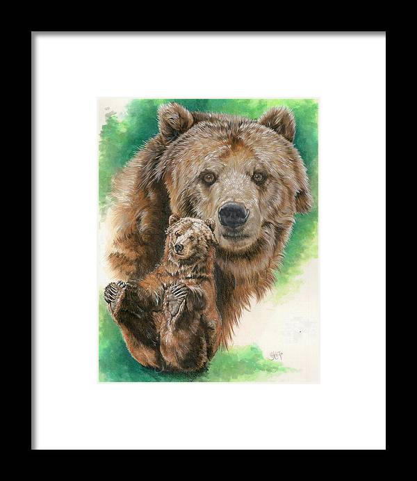 Bear Framed Print featuring the mixed media Brawny by Barbara Keith