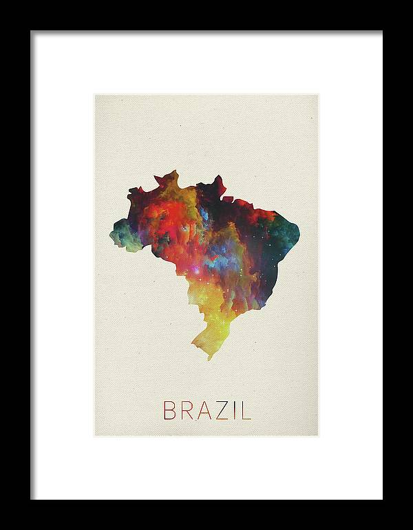 Brazil Framed Print featuring the mixed media Brazil Watercolor Map by Design Turnpike
