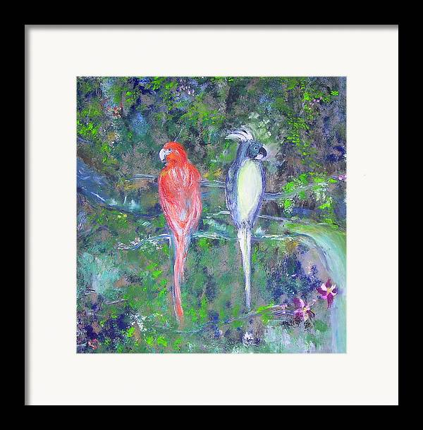 Wildlife Framed Print featuring the painting Brazilian Parrots by Michela Akers