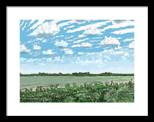 Brazoria Framed Print featuring the digital art Brazoria County Field by Kerry Beverly