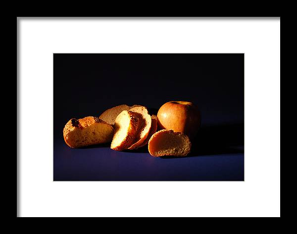 Still Life Framed Print featuring the photograph Bread And Apple by William Thomas