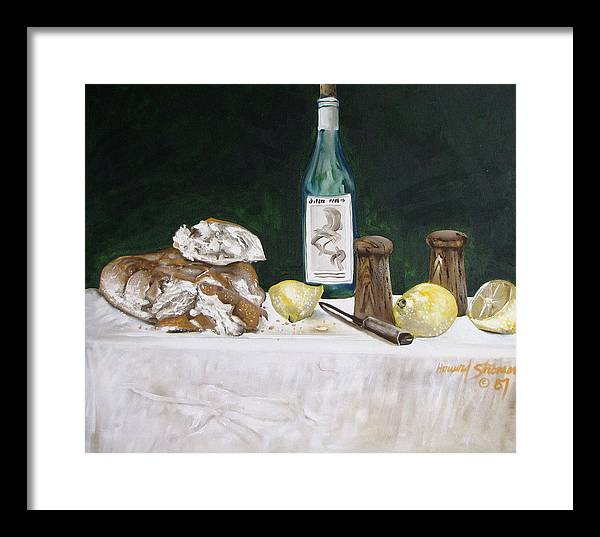 Stil Life;lemons;wine;bread;table Setting;salt;pepper;food Framed Print featuring the painting Bread and Wine by Howard Stroman