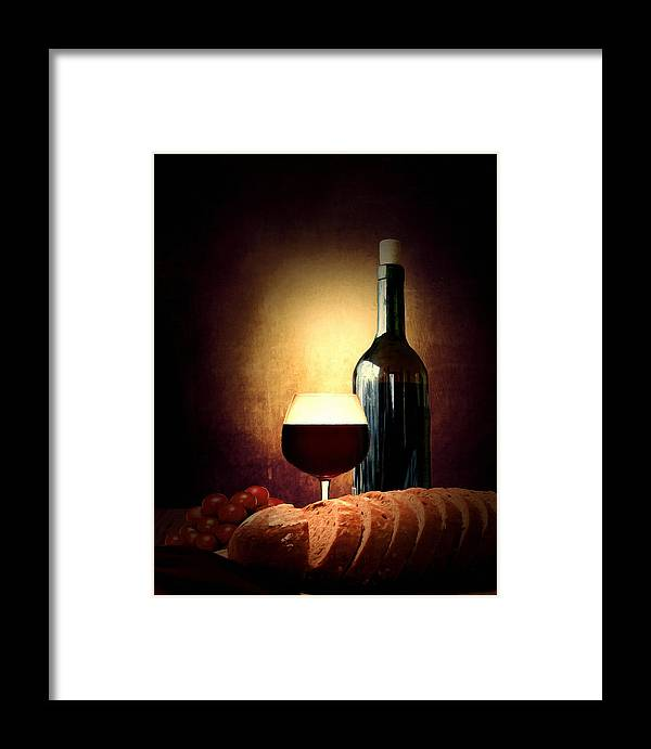 Wine Framed Print featuring the photograph Bread And Wine by Lourry Legarde