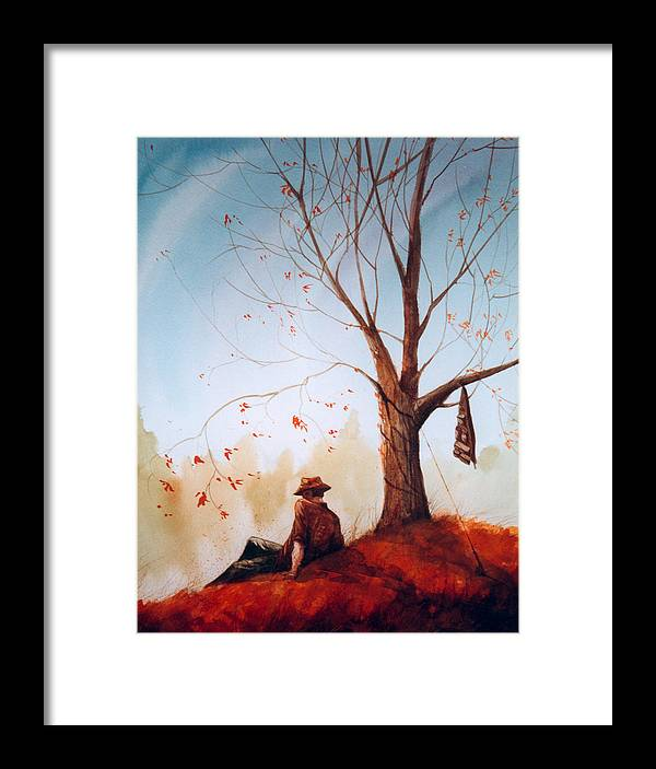 Fisherman Framed Print featuring the painting Break Time by Sean Seal
