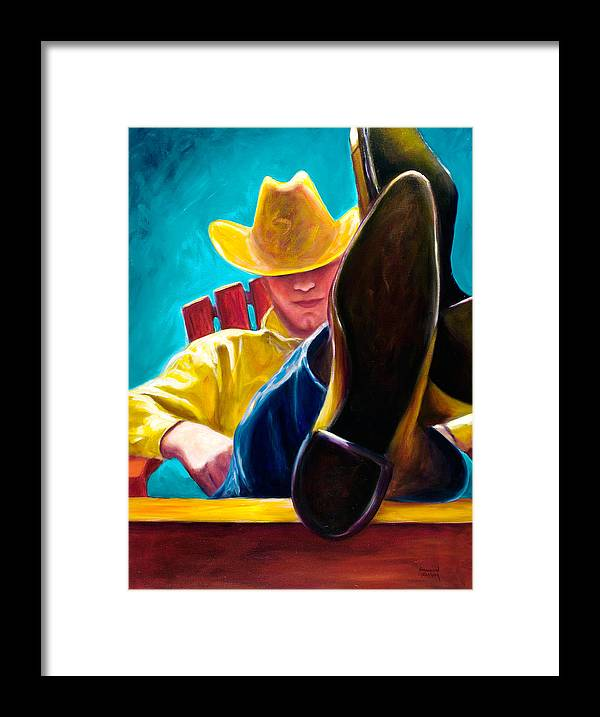 Western Framed Print featuring the painting Break Time by Shannon Grissom