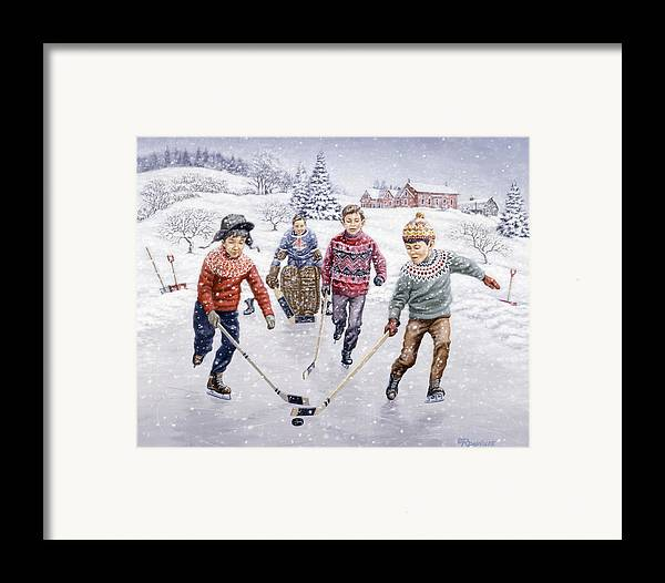 Hockey Framed Print featuring the painting Breakaway by Richard De Wolfe