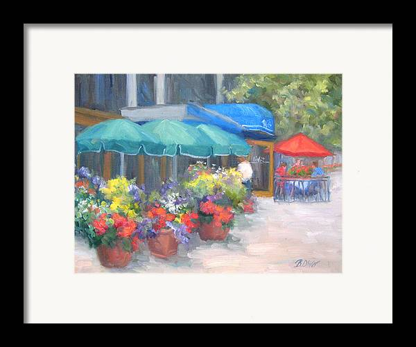 Cafe Framed Print featuring the painting Breakfast At Blus by Bunny Oliver