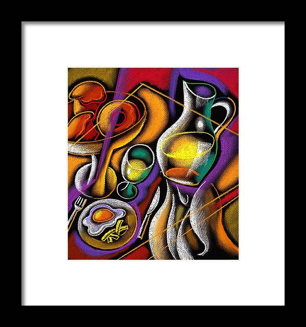 Balance Breakfast Cafe Carry Carrying Close Up Close-up Coffee Coffee Cup Color Color Image Colour Cup Dish Drawing Drink Food Food And Drink Fruit Glass Hand Healthy Eating High Angle High Angle View Hold Holding Illustration Illustration And Painting Juice One One Person People Person Plate Platter Restaurant Server Service Serving Tray Unrecognizable Person Vertical Waiter Decorative Painting Abstract Art Framed Print featuring the painting Breakfast by Leon Zernitsky