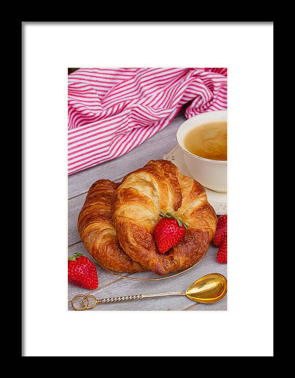Breakfast Framed Print featuring the photograph Breakfast With Croissants by Anastasy Yarmolovich