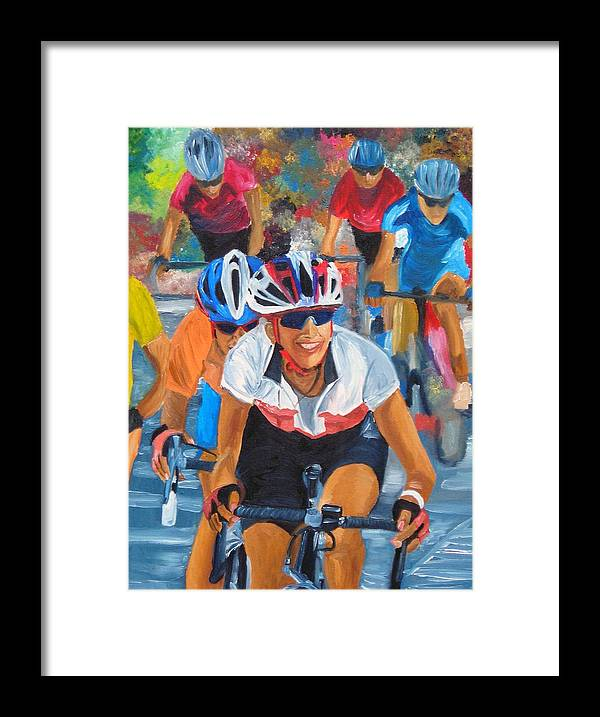 Cycling Framed Print featuring the painting Breaking Away by Michael Lee