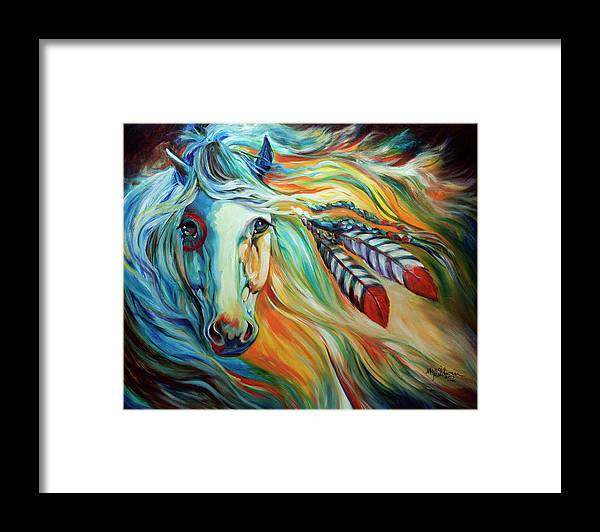 Horse Framed Print featuring the painting Breaking Dawn Indian War Horse by Marcia Baldwin