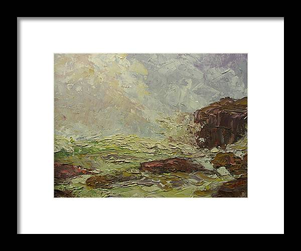 Landscape Framed Print featuring the painting Breaking On Shore Coast Of Maine Usa by Belinda Consten