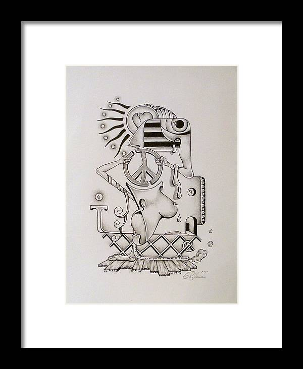 American Flag Framed Print featuring the drawing Breaking Peace by Eric Rabbers