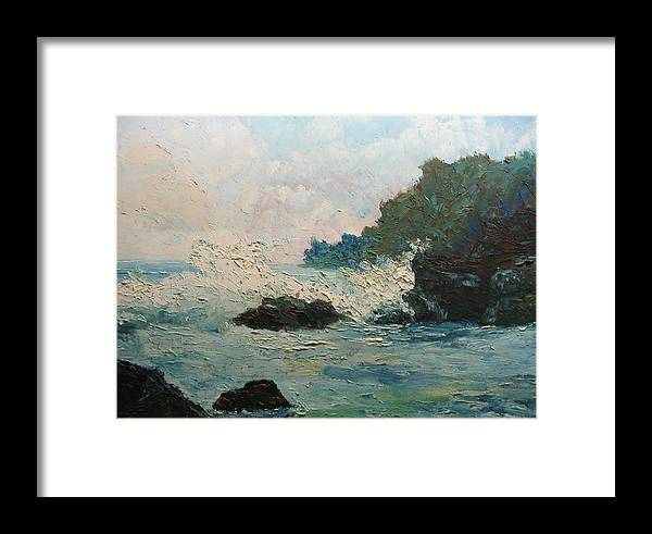 Landscape Framed Print featuring the painting Breaking Waves - Number One by Belinda Consten