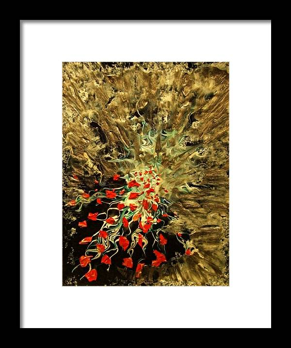 Abstract Explosion Symbolizing Incredible Release During Breakthrough And Flow Of Creative Energy Framed Print featuring the painting Breakthrough by Pam Ellis