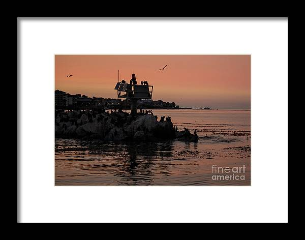 Breakwater Framed Print featuring the photograph Breakwater Sunset by Suzanne Luft