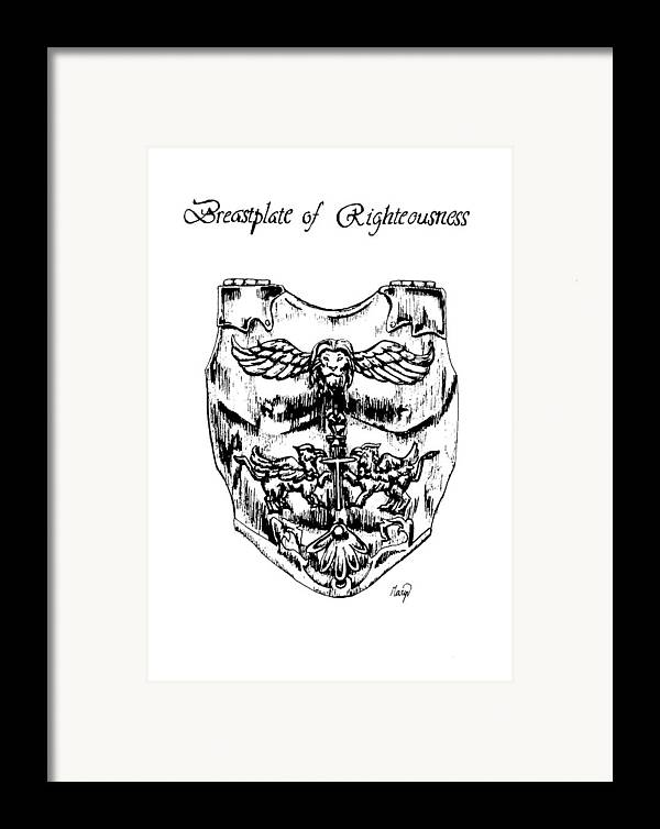 Breastplate Framed Print featuring the drawing Breastplate Of Righteousness by Maryn Crawford