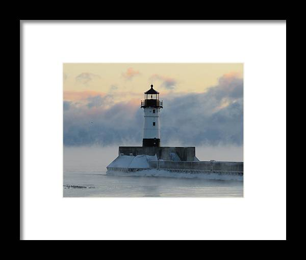 Lighthouses Framed Print featuring the photograph Winter's Breath by Alison Gimpel