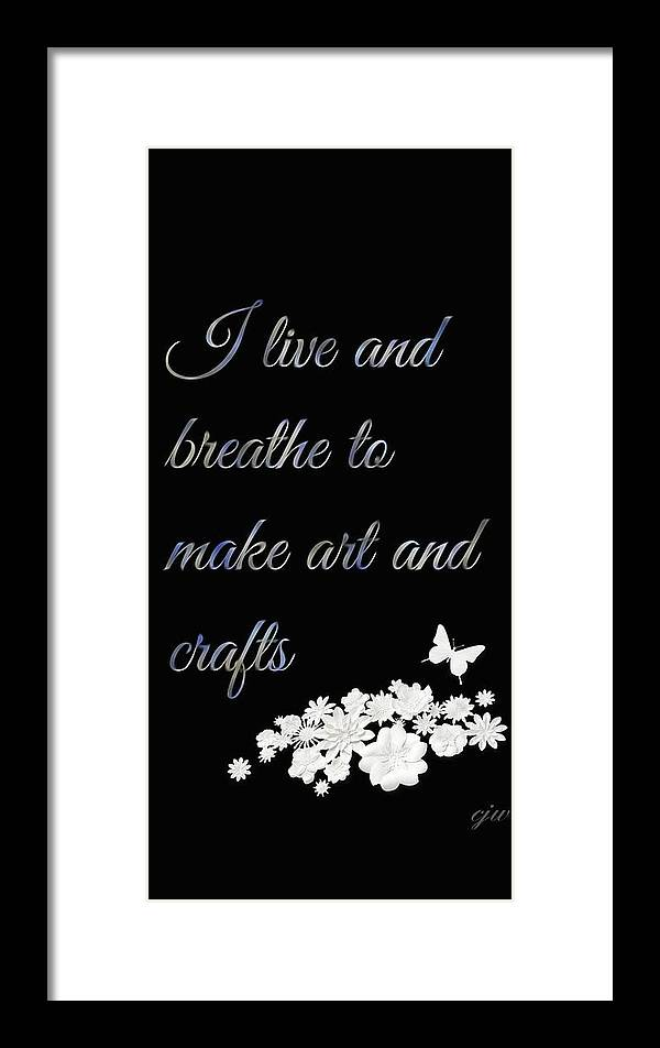Art Craft Breath Life Live Black Blue Wordart Framed Print featuring the digital art Breathe by Christine West