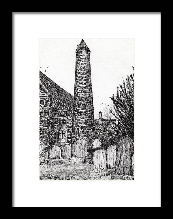Brechin Round Tower Framed Print featuring the drawing Brechin Round Tower by Vincent Alexander Booth