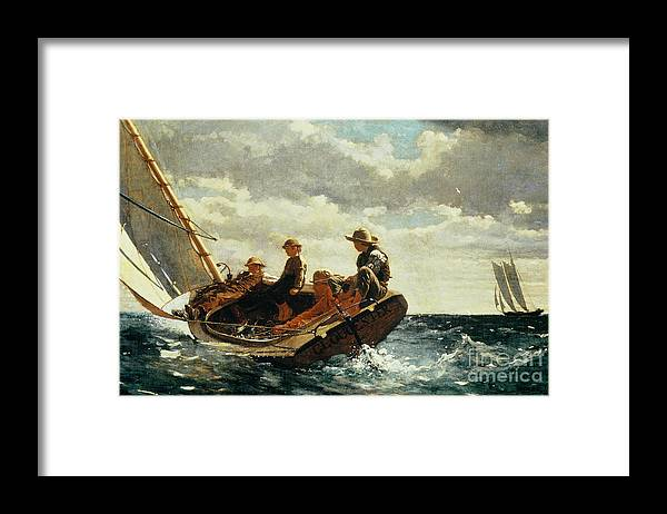 Breezing Up Framed Print featuring the painting Breezing Up by Winslow Homer