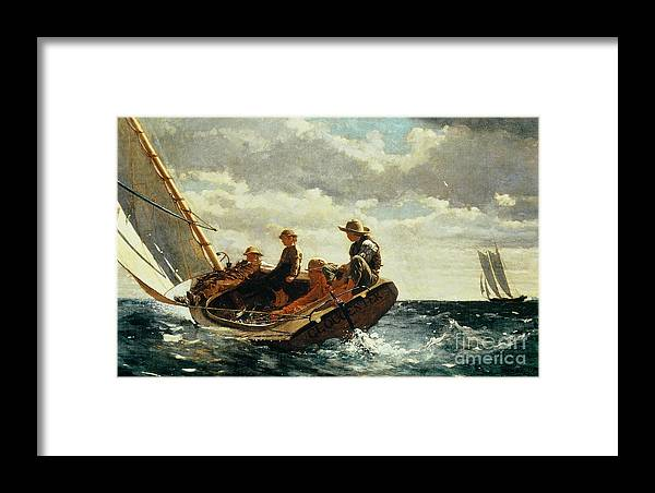 Breezing Up (a Fair Wind) 1873-76 (oil On Canvas) By Winslow Homer (1836-1910)boat Framed Print featuring the painting Breezing Up by Winslow Homer