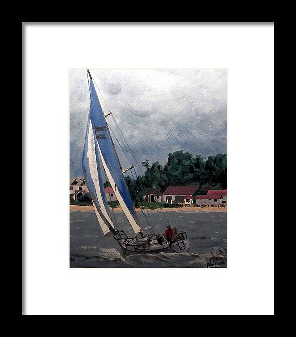 Sailing Framed Print featuring the painting Breezy Day At Sea by Jim Phillips