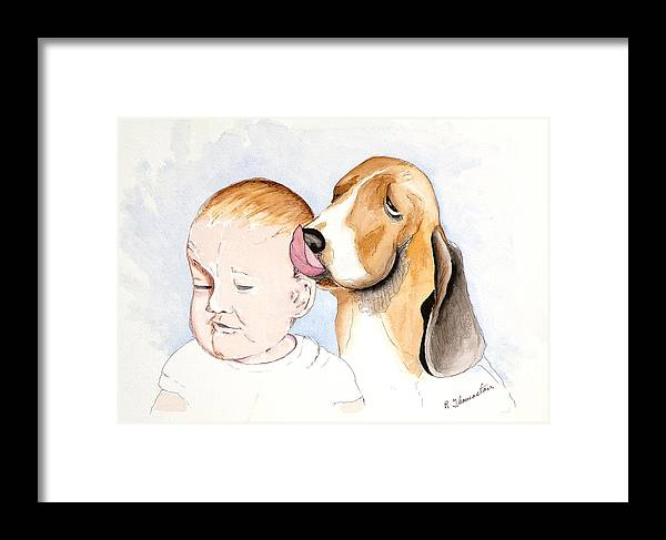 Family Framed Print featuring the painting Bregit And Paul by Robert Thomaston