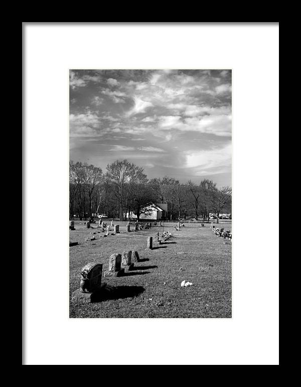 Ansel Adams Framed Print featuring the photograph Brentway-cemetery by Curtis J Neeley Jr