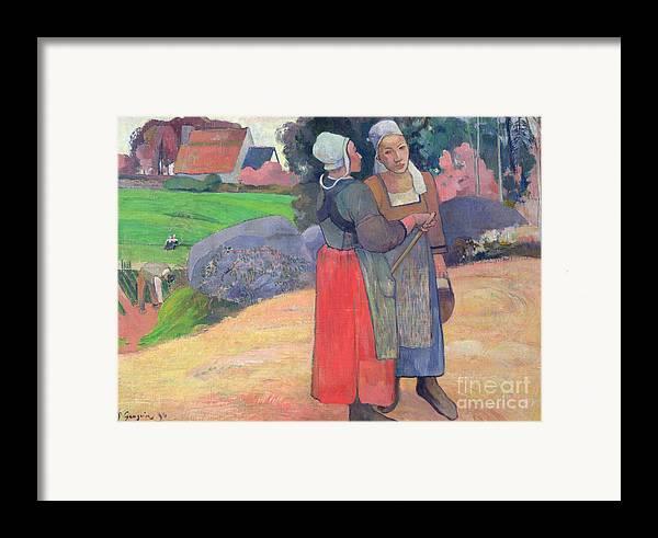 Breton Peasants Framed Print featuring the painting Breton Peasants by Paul Gauguin