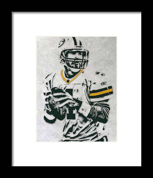 Brett Favre Green Bay Packers Pixel Art Framed Print By Joe Hamilton