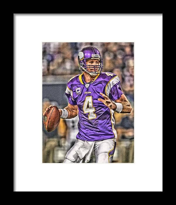 Brett Favre Minnesota Vikings Framed Print By Joe Hamilton