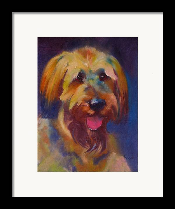 Briard Puppy Framed Print featuring the painting Briard Puppy by Kaytee Esser