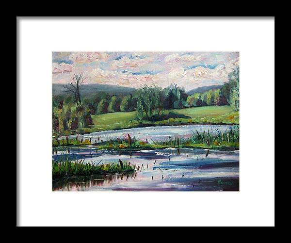 Pond Framed Print featuring the painting Brick Pond Afternoon by Richard Nowak