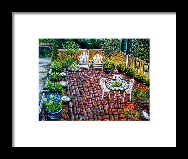 Landscape Framed Print featuring the painting Brickwork by Elizabeth Robinette Tyndall