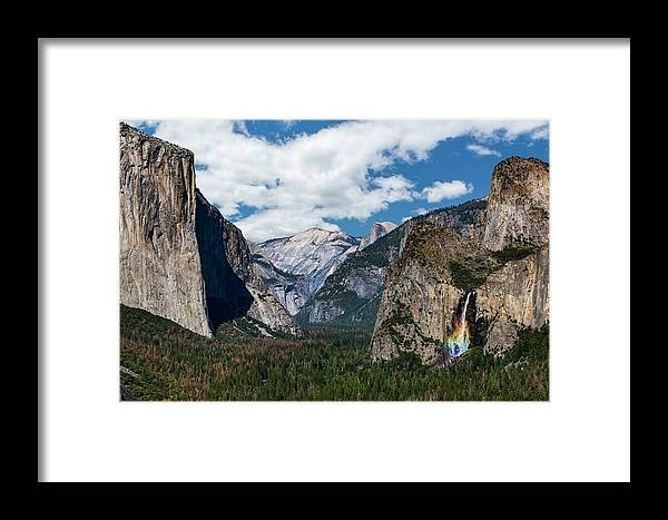 Yosemite Framed Print featuring the photograph Bridal Veil Falls Rainbow by Daniel Kelly