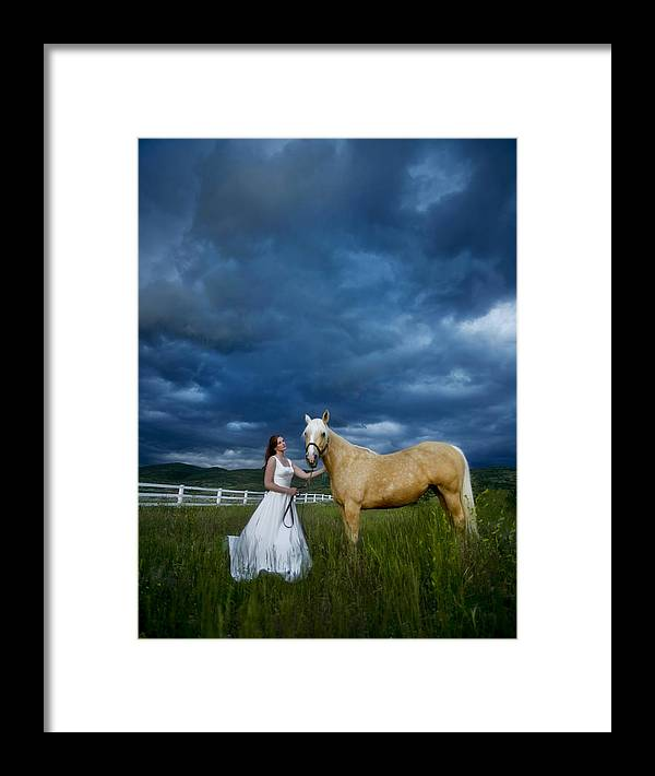 Beautiful Framed Print featuring the photograph Bride And Horse With Storm by Nick Sokoloff