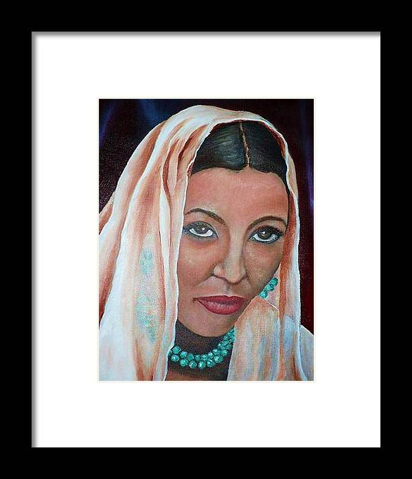 Portrait Of Bride Framed Print featuring the painting Brideprice by Alima Newton