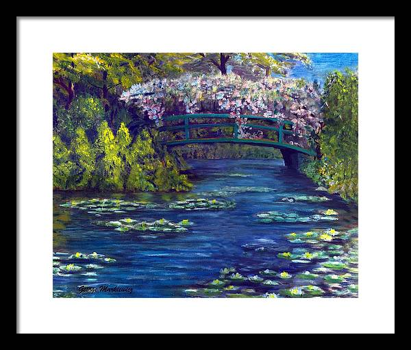 Bridge And Waterlillies Framed Print featuring the print Bridge And Water Lillies by George Markiewicz